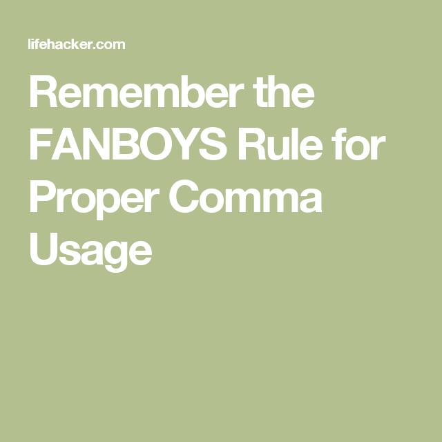 proper comma usage