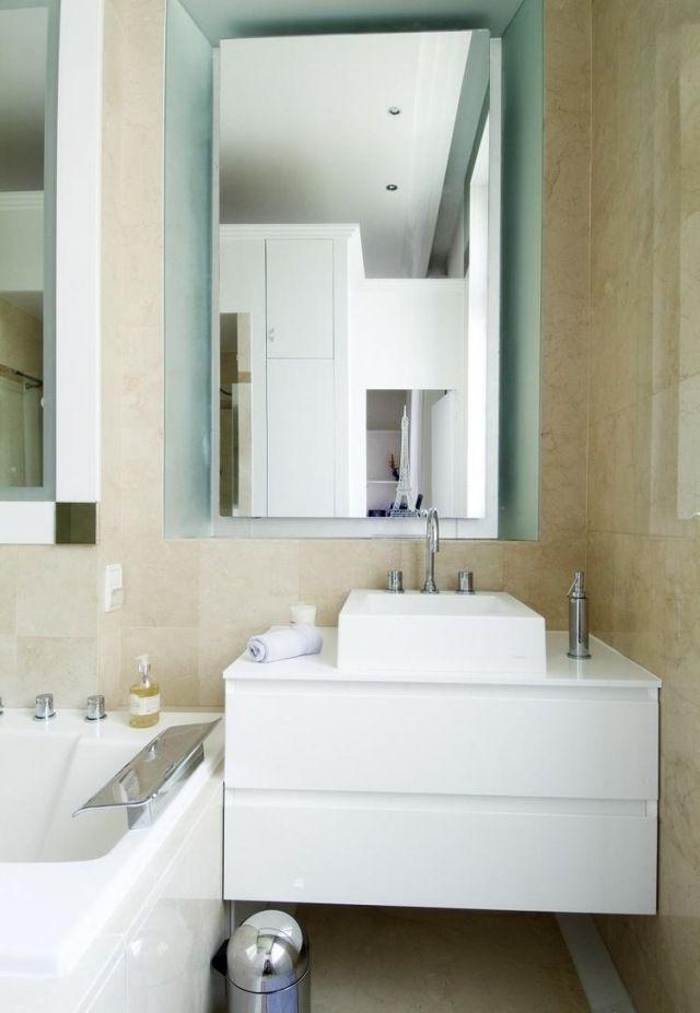 kleines badezimmer gestaltung beige fliesen waschtisch unterschrank ...