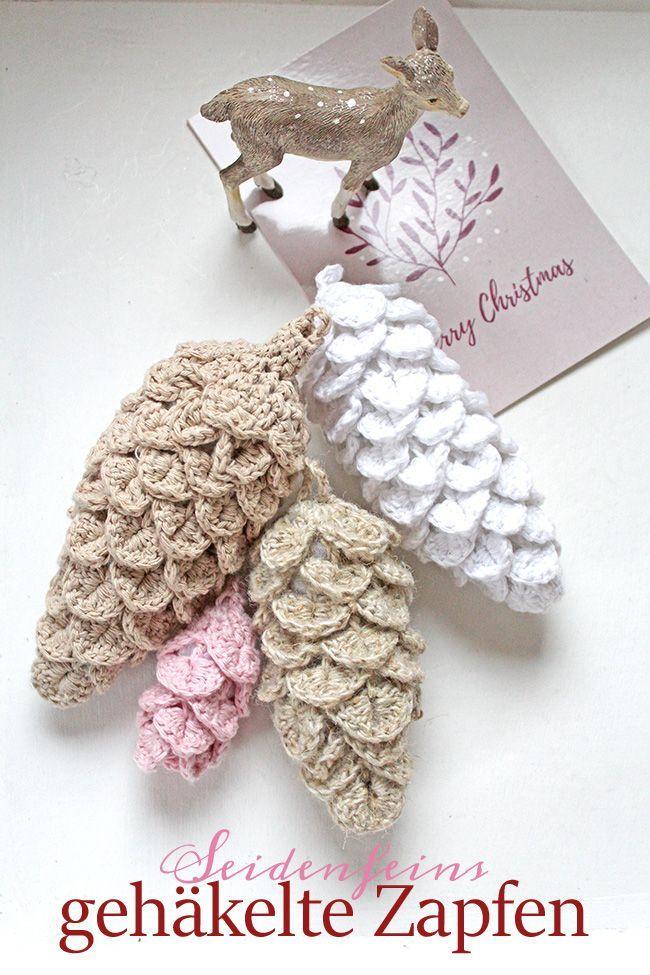 Tutorial gehäkelte Weihnachtsdeko: Tannenzapfen * tutorial crocheted xmas decoration on seidenfein.blogspot.com #haken