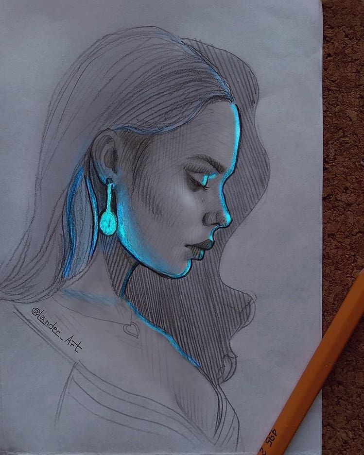 Lovely Sketches With Glowing Effect Swipe Can You