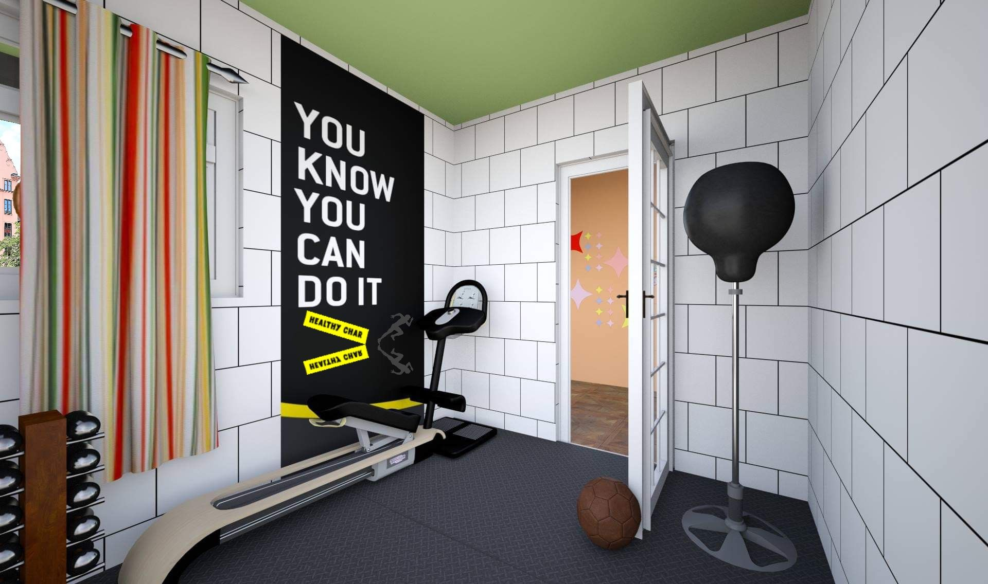 INT. SMALL HOME GYM OPEN DOOR DAY Small home gyms