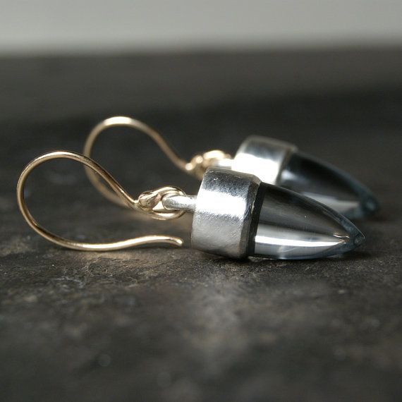 Mixed Metals Blue Topaz Bullet Earrings in Recycled by anatomi