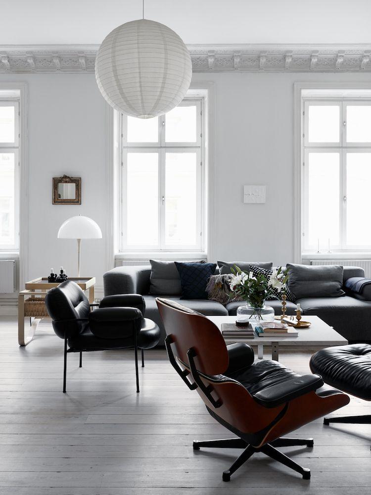 Déco en 2019 | Salon | Salon style scandinave, Fauteuil cuir noir et ...