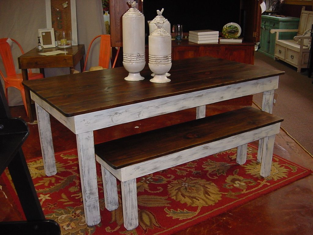 Rustic Tables And Benches | Rustic Country Farmhouse Table And Bench