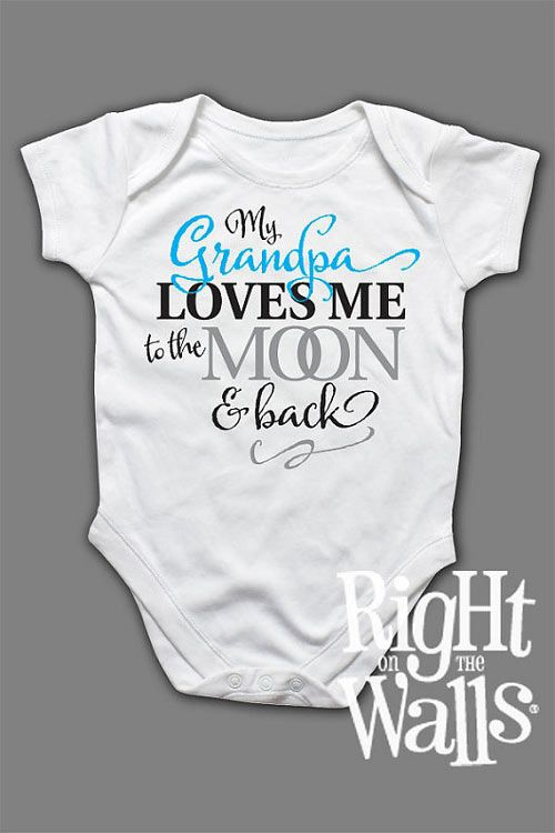 Grandad I love you to the moon and back baby grow babysuit !