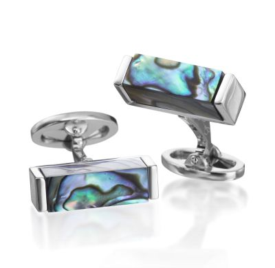 Sterling Cross Section Abalone Cufflink