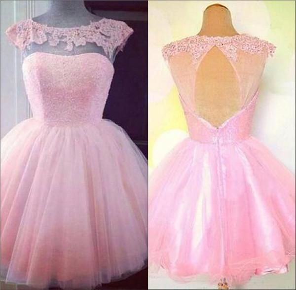 Semi Formal Homecoming Dresses Hot Pink Scoop Neck Cap Sleeves Tulle