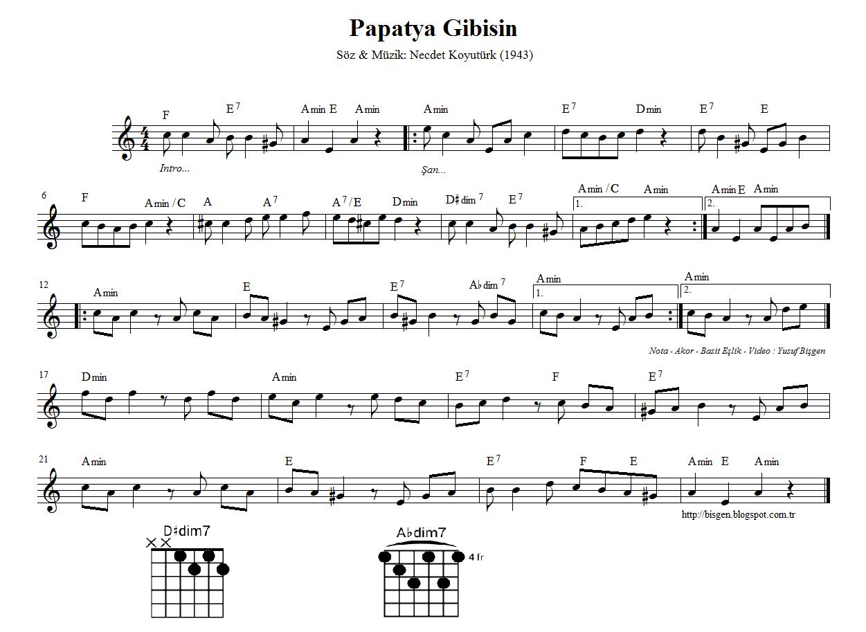 Bisgen Sax Papatya Gibisin Nota Akor Eslik For Eb Alto Sax Notalara Dokulmus Muzik Flut Muzik