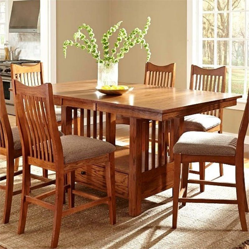 A America Laurelhurst Extendable Dining Table In Mission Oak With
