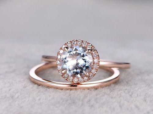 Aquamarine Bridal Ring Set In Bbbgem See Our March Birthstone Wedding Set In Blue With Aquamarine Engagement Ring Diamond Wedding Sets Aquamarine Wedding Ring