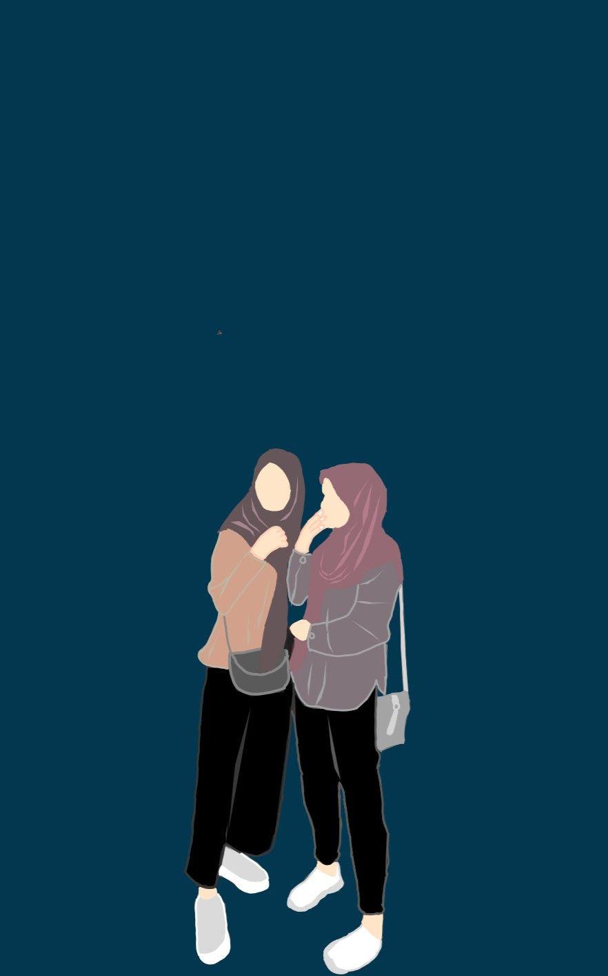 Styleseventeen Ilustrasi Gadis Kartun Hijab Gambar Bff