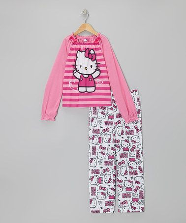Take a look at this Pink Stripe Hello Kitty Pajama Set - Girls by Hello Kitty on #zulily today!