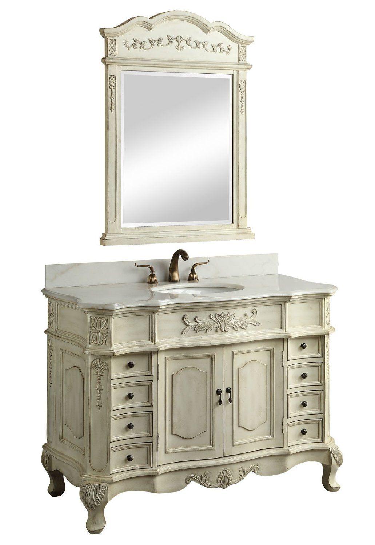 42 Inch Single Sink Bathroom Vanity in Cream White ...