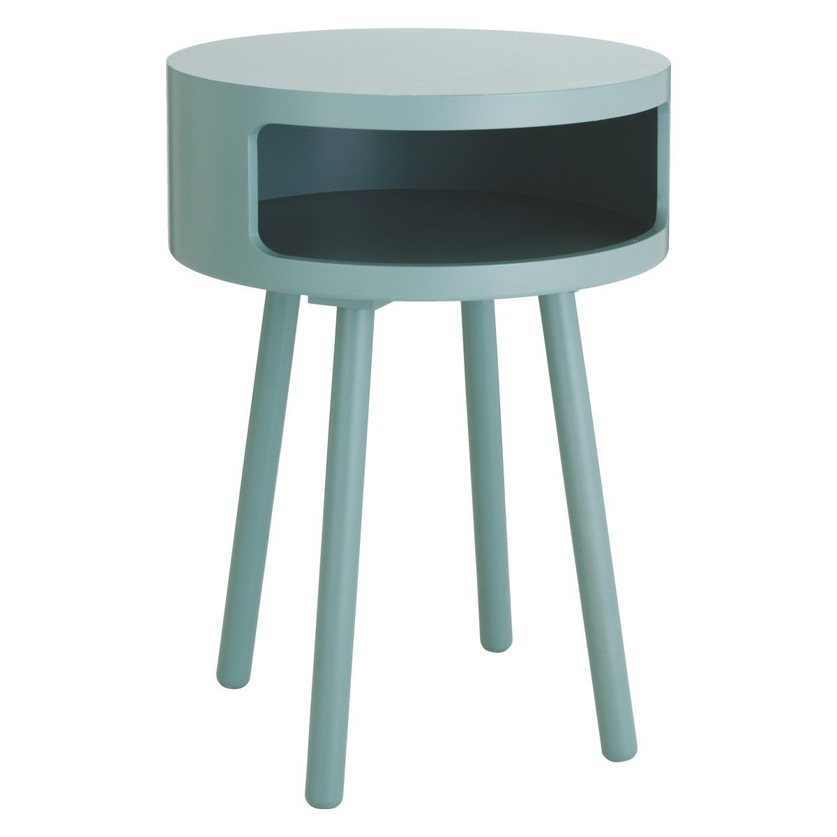 Bumble Sage Green Side Table With Storage Shelf Side