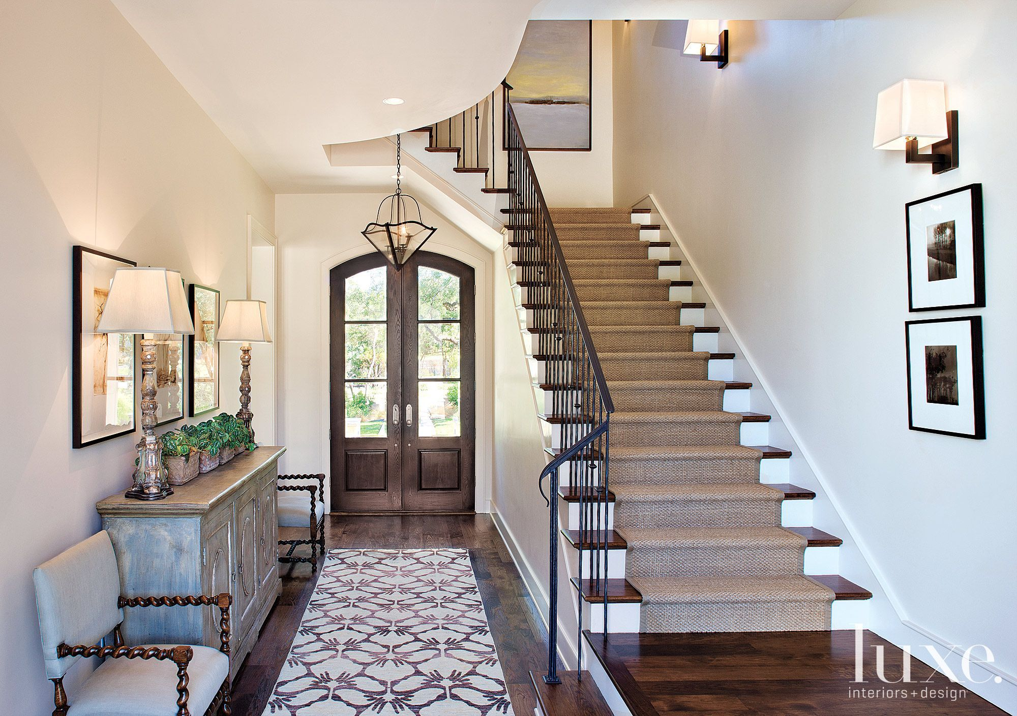 Entry Foyer Runner : Transitional white stairway with wool runner luxesource luxe