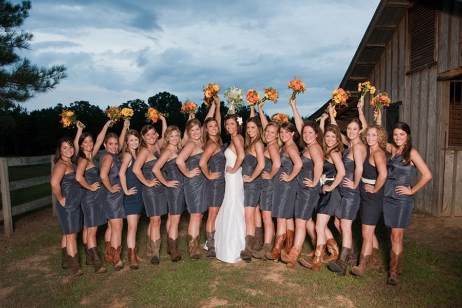 bridesmaid dress with cowgirl boots | wedding dress ...