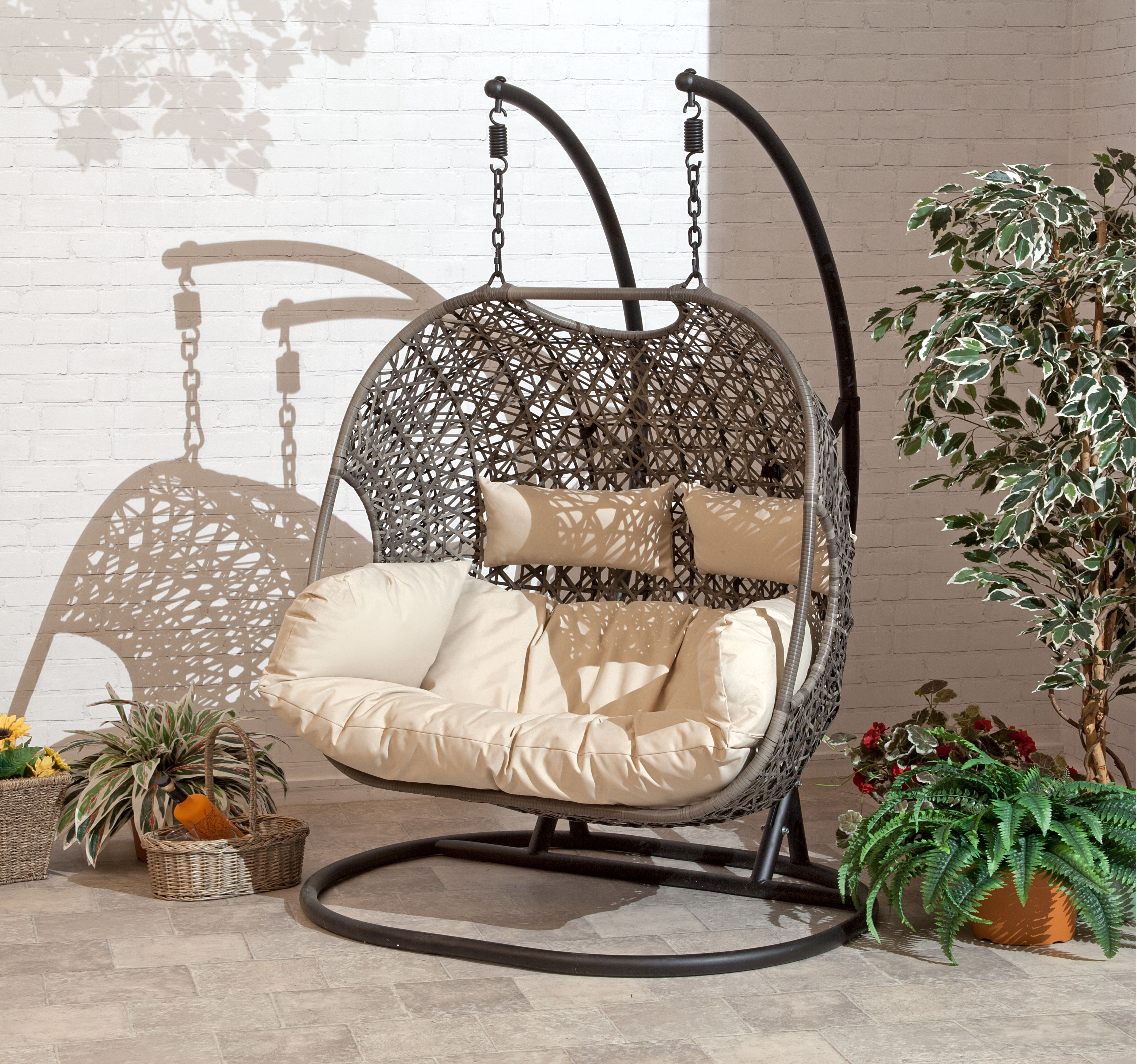 Brampton Double Cocoon Chair Walmart Com Patio Swing Chair Swinging Chair Hanging Garden Chair