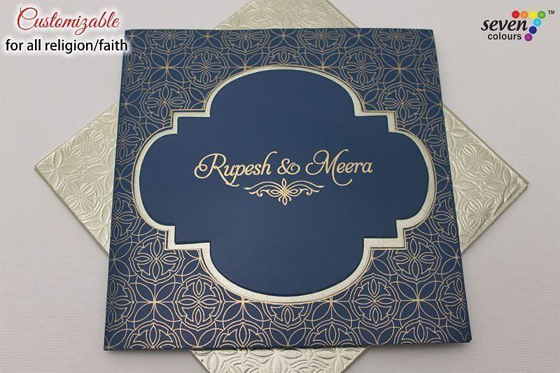 Sc 433 Wedding Card In Matt Blue With Metallic Silver Envelope