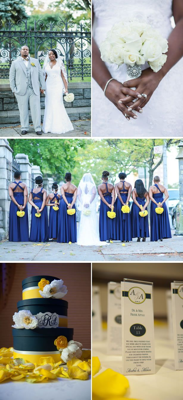 Modern navy blue and yellow fall country club wedding in new york