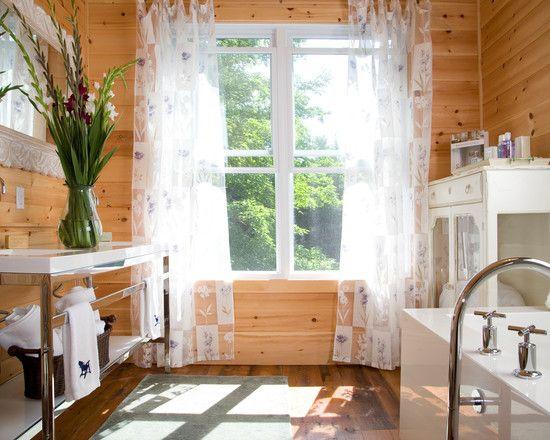 Wonderful Knotty Pine Wood Flooring: Rustic Bathroom With