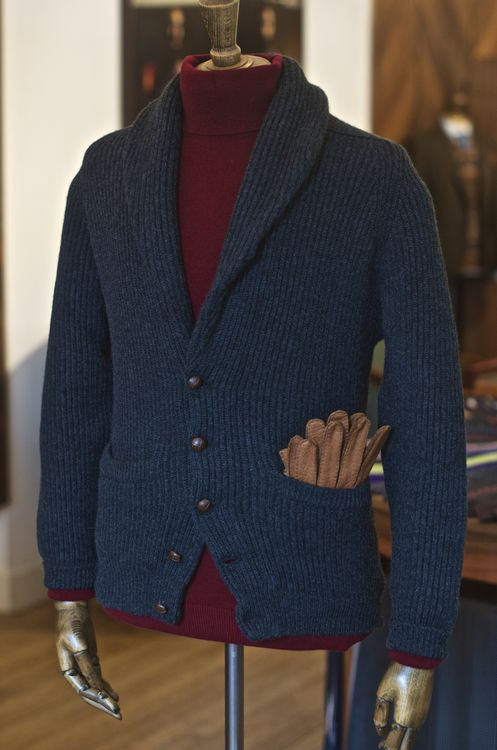 Drake's Diary | Double Knit Cashmere Shawl Collar Cardigan