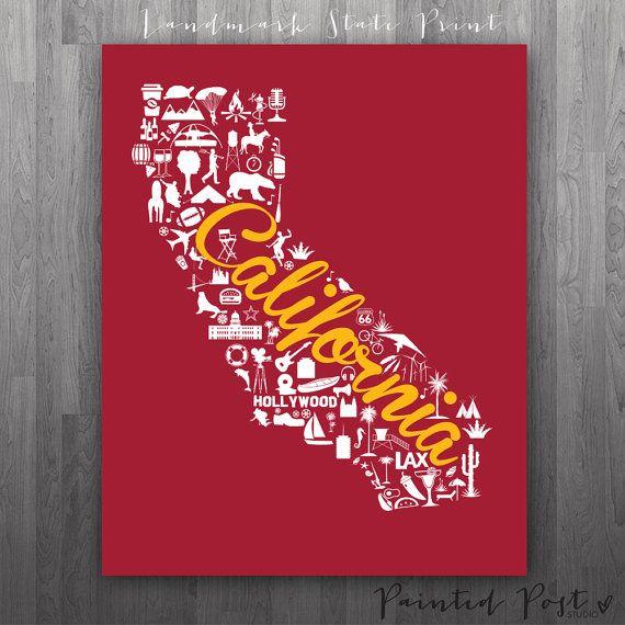 Los Angeles, Southern California Landmark State Giclée Map Art Print - copy birth certificate long beach