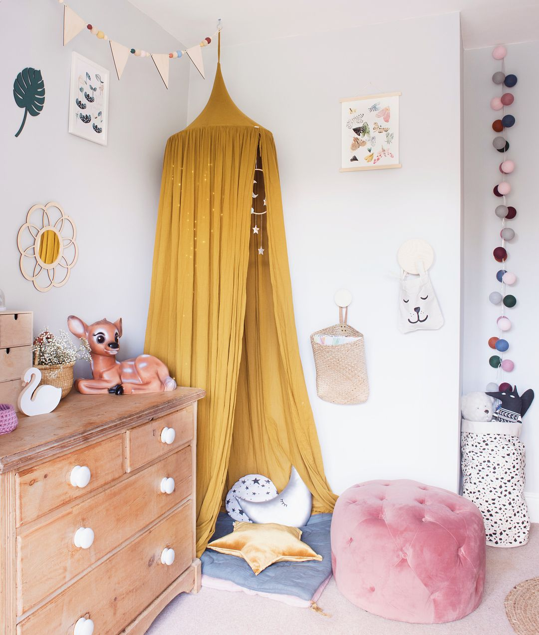 Girls Vintage Style Girls Bedroom Makeover With Mustard And Pink