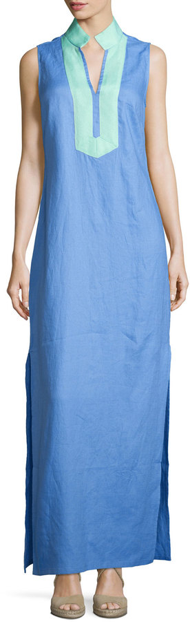 Sail to Sable Classic Linen Sleeveless Dress, Marina/Cabbage