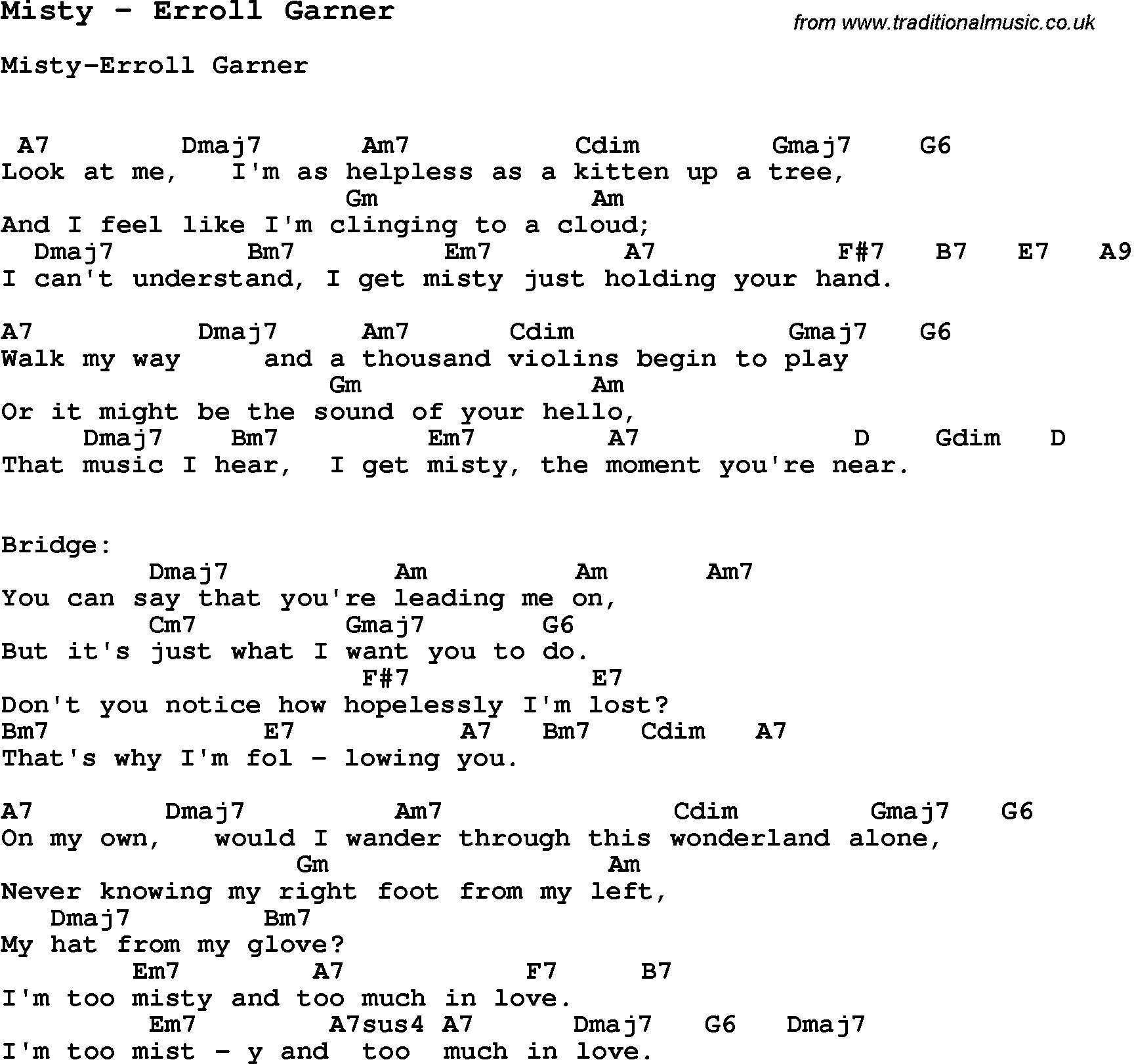 Song misty by erroll garner with lyrics for vocal performance and song misty by erroll garner with lyrics for vocal performance and accompaniment chords for ukulele hexwebz Images