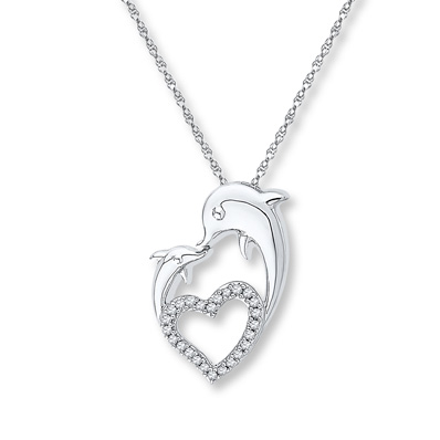 Dazzlingrock Collection Sterling Silver Womens Round Diamond Mom Heart Pendant 1//8 Cttw