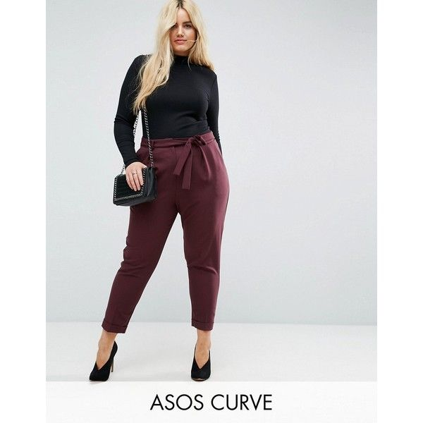 f177c1331cb1 ASOS CURVE Woven Peg Pants with Obi Tie ($40) ❤ liked on Polyvore featuring plus  size, red and asos curve