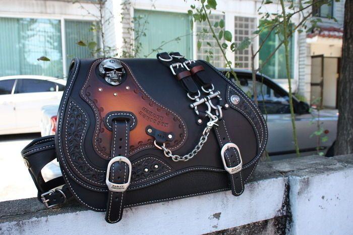 hand made custom SKULL SaddleBag leather saddle bag softail