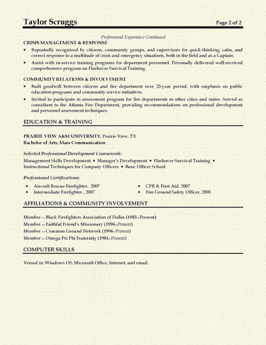Fireman Resume Example Resume examples and Firemen - fire training officer sample resume