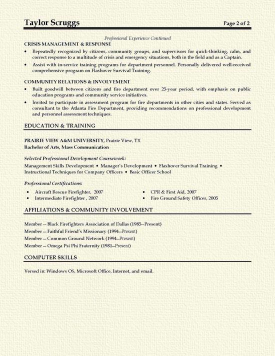 Fireman Resume Example Cover Letter For Resume Firefighter Resume Resume Examples