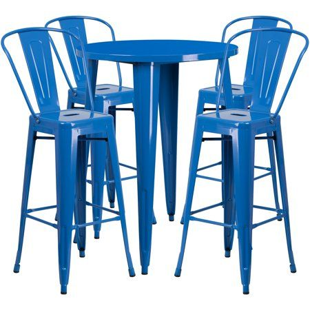 Flash Furniture 30'' Round Metal Indoor-Outdoor Bar Table Set with 4 Cafe Barstools, Multiple Colors - Walmart.com