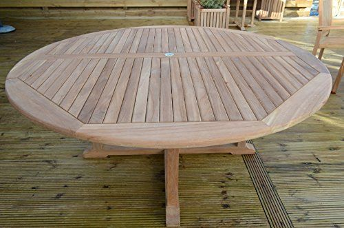 Dorchester - Solid Teak - 1.8m / 6ft Round Cross Leg Garden Table ...