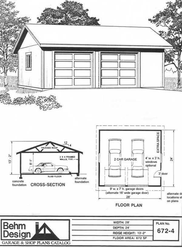Reverse Gable Two Car Garage Plan 672-3 28' x 24' by Behm