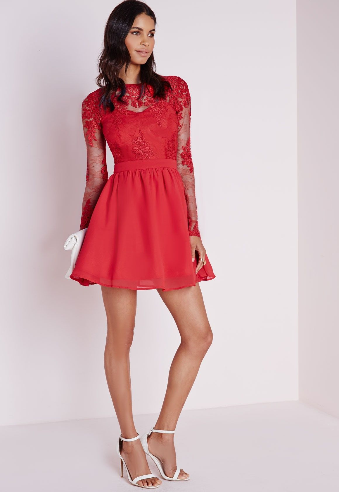 Long Sleeve Red Skater Dress