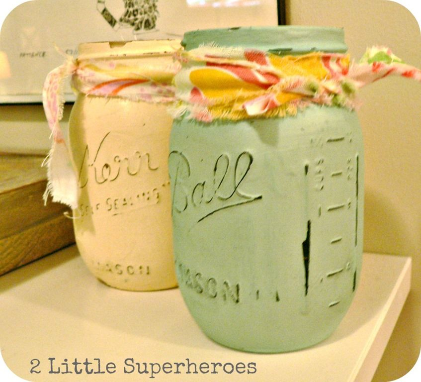 painted mason jars 2 little superheroes