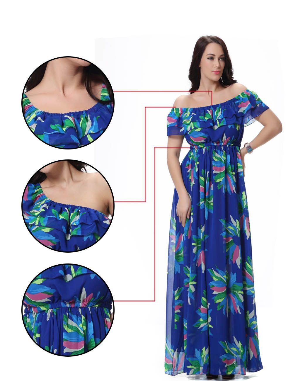 Fashion women plus size chiffon maxi dress short sleeve off shoulder