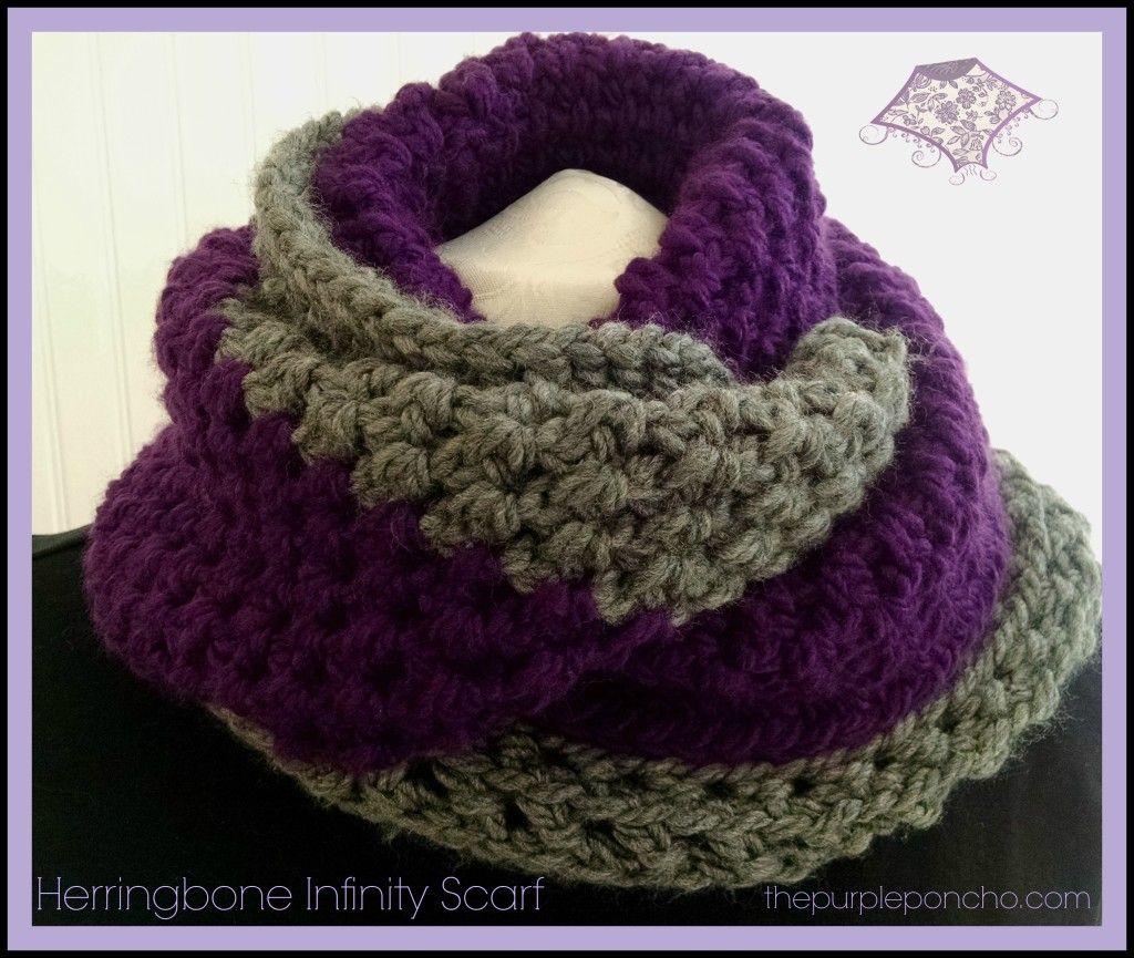 Herringbone Infinity Scarf by The Purple Poncho A Free Crochet ...