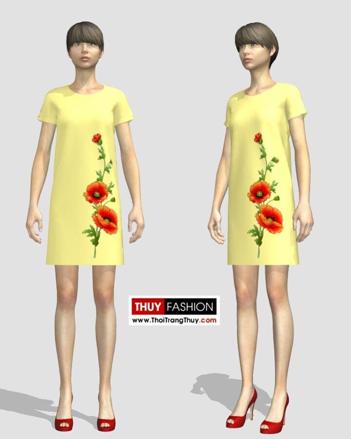 Kết quả hình ảnh cho Dựng mẫu váy vẽ hoa trên phần mềm thời trang 3D V226