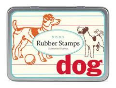 """Any dog lover is bound to """"woof"""" these unique vintage stamps! With 3 unique wooden rubber stamps featuring vintage dog images from Cavallini, these playful stamps add to any paper project, personal stationery, decorative packages and much more. $11.99"""
