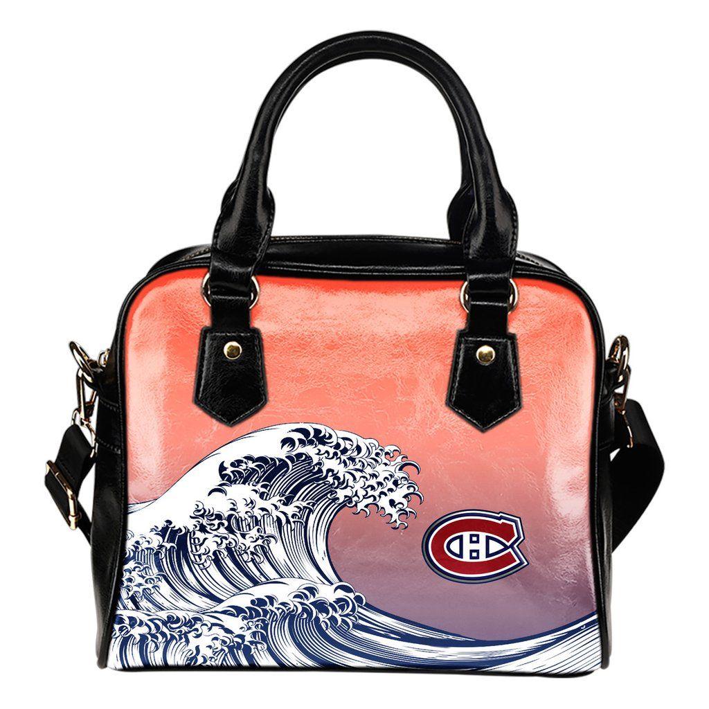 Enormous Wave Fancy Logo Montreal Canans Shoulder Handbags
