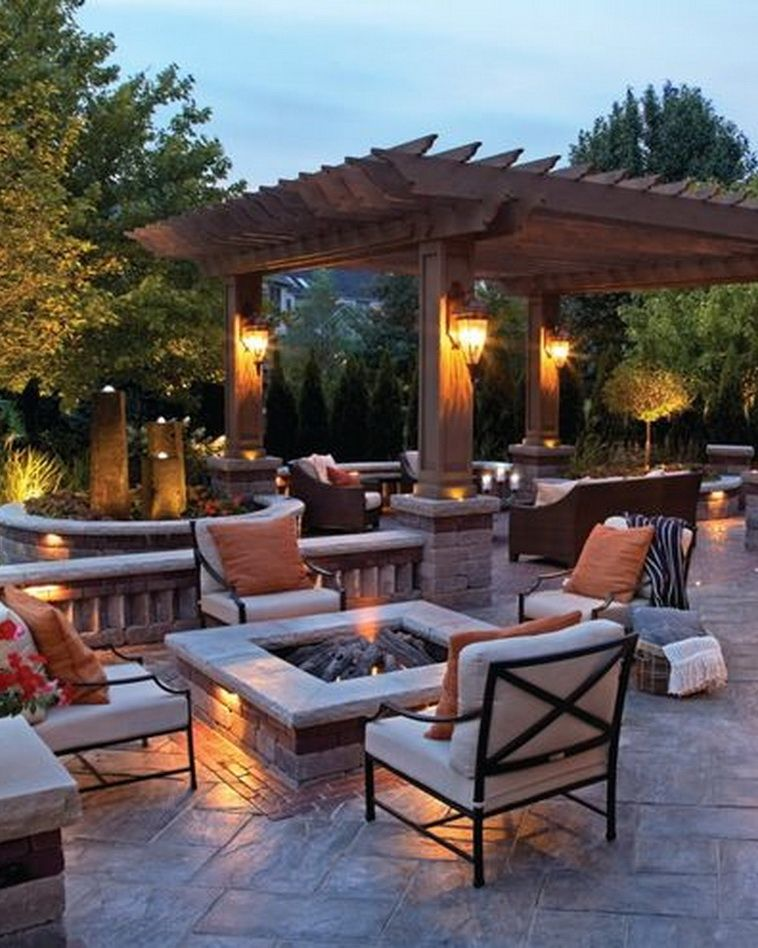 Incredible Wood Backyard Pavilion Design Ideas Outdoor 1: Incredible Unilock Outdoor Living Space With Fire Pit And