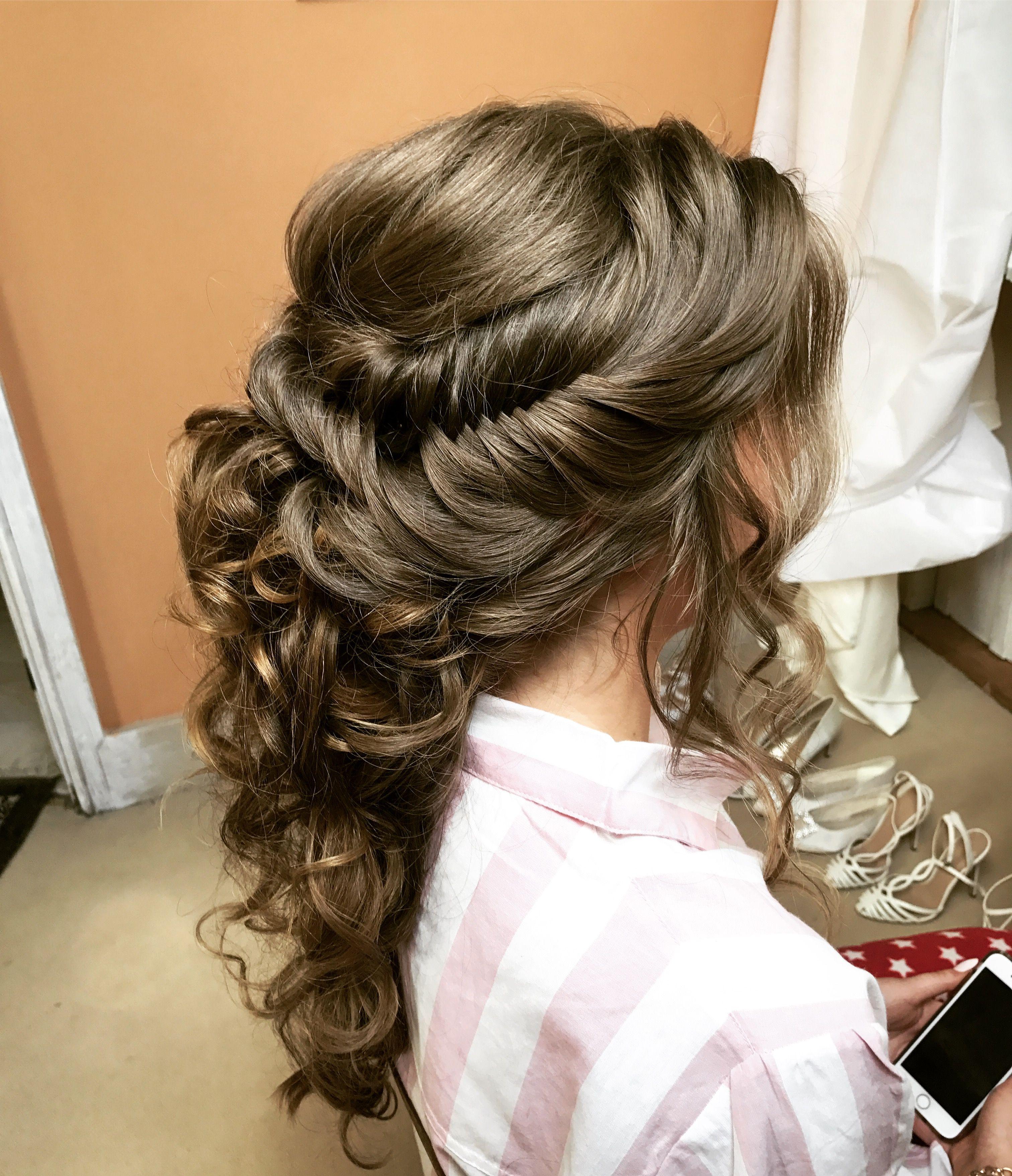 Wedding hair up do fish tail plait braids brides hair ...