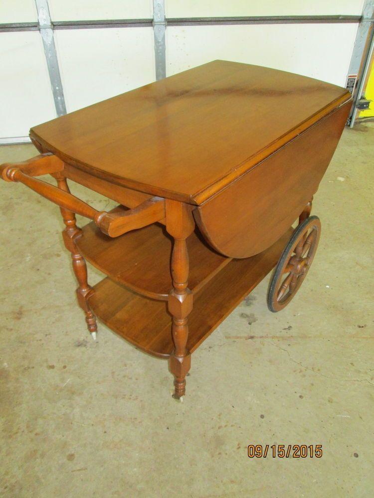 Vintage Antique Tea Cart Portable Bar Server Wagon Wheels Drawer 2 Drop  Leaf $175 On Ebay