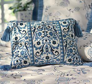 Belle Blue Needlepoint PillowCabinsCampingPinterest