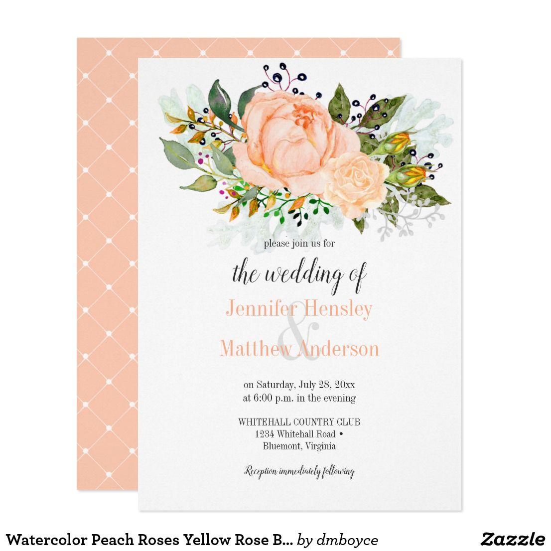 Watercolor Peach Roses Yellow Rose Buds Invitation | Watercolor ...