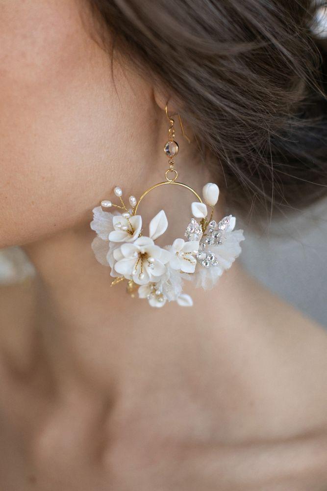David's BridalSilk Flower Hoop Earrings Style 951, Gold